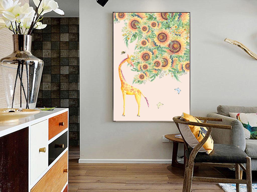 美式向日葵客厅卧室手绘背景装饰画挂画