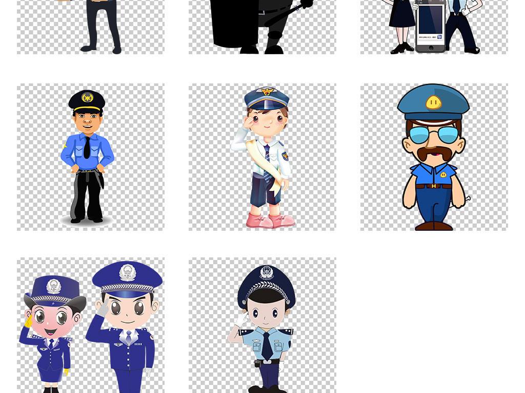 卡通警察素材交警公安特警免扣png图片