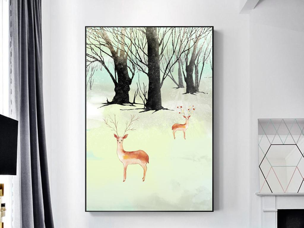 手绘水彩客厅卧室背景装饰画挂画