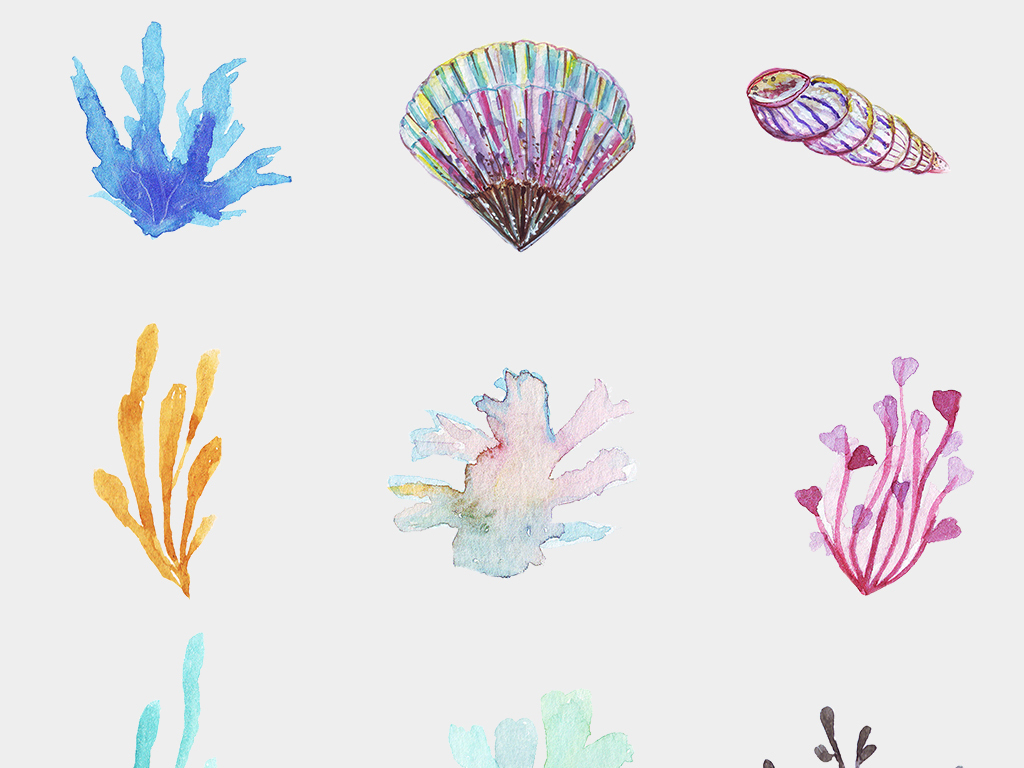 儿童卡通手绘水彩海洋世界水草水藻