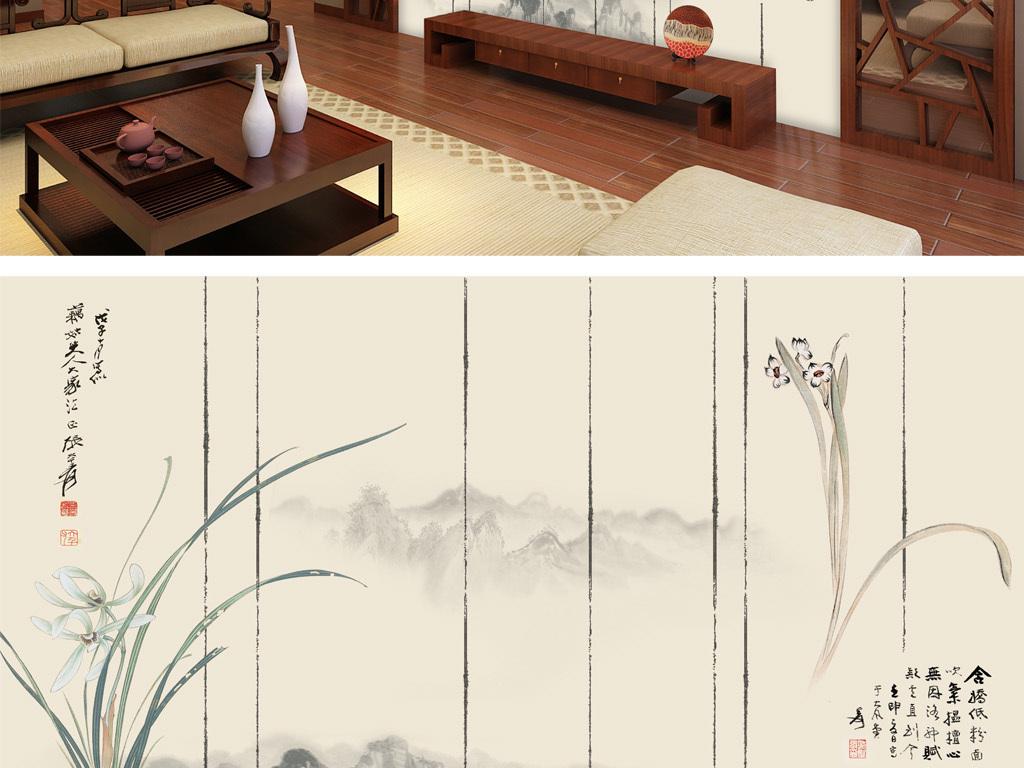 壁画 手绘壁画 > 新中式意境抽象兰花徽式建筑客厅背景墙壁画  素材图