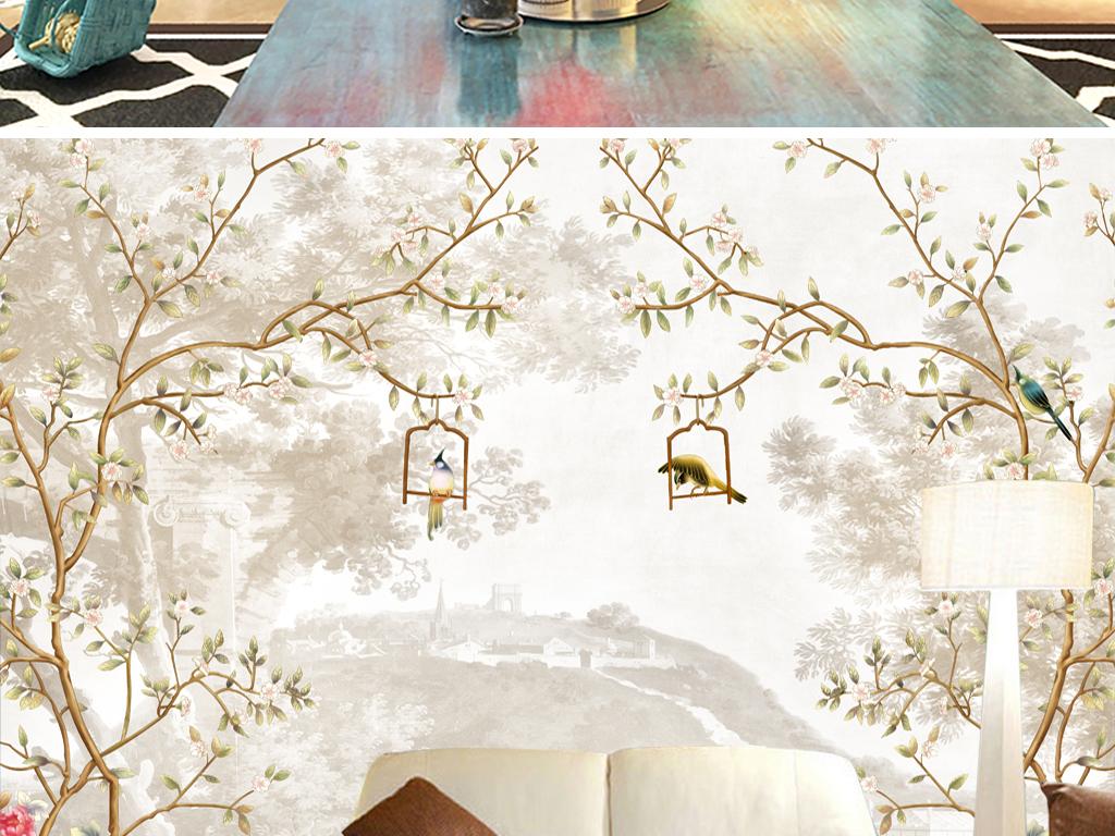 手绘花鸟新中式背景墙
