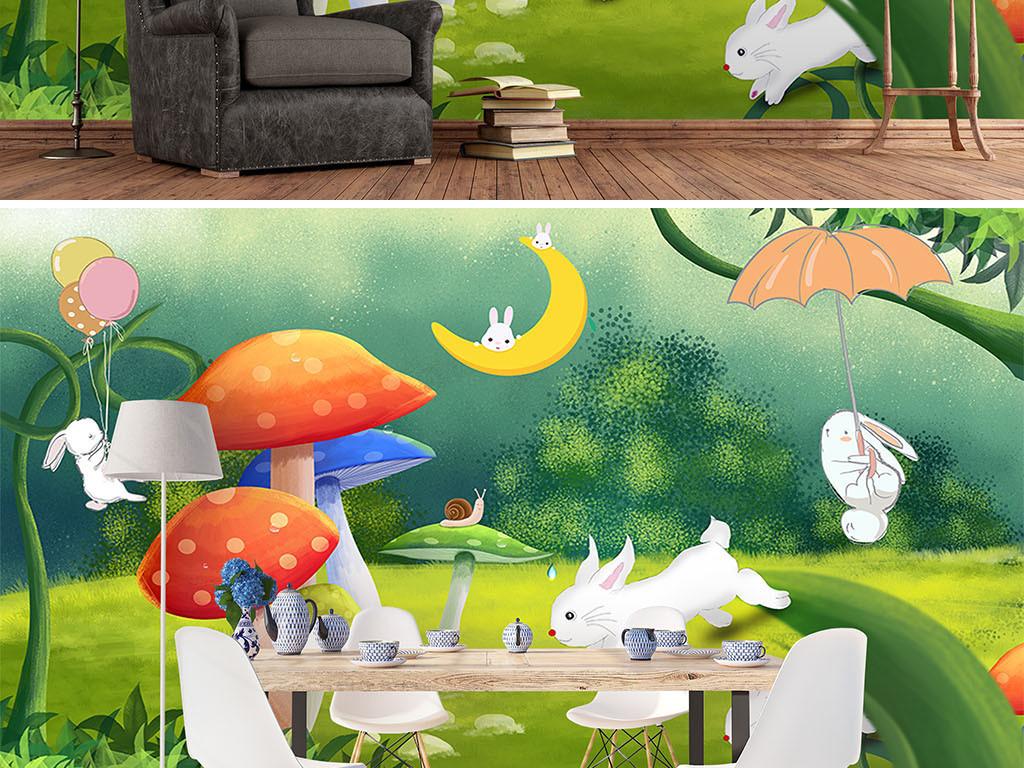北欧手绘森林蘑菇卡通兔子儿童房背景墙壁纸