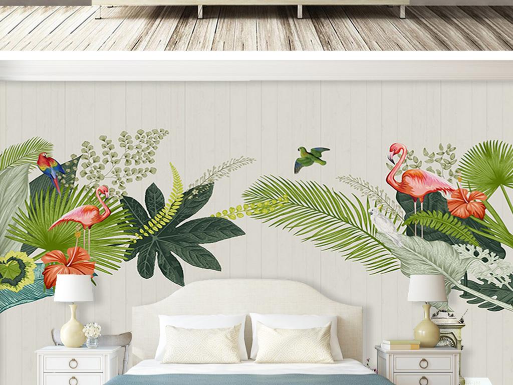 北欧手绘热带雨林火烈鸟背景墙壁画图片设计素材_高清