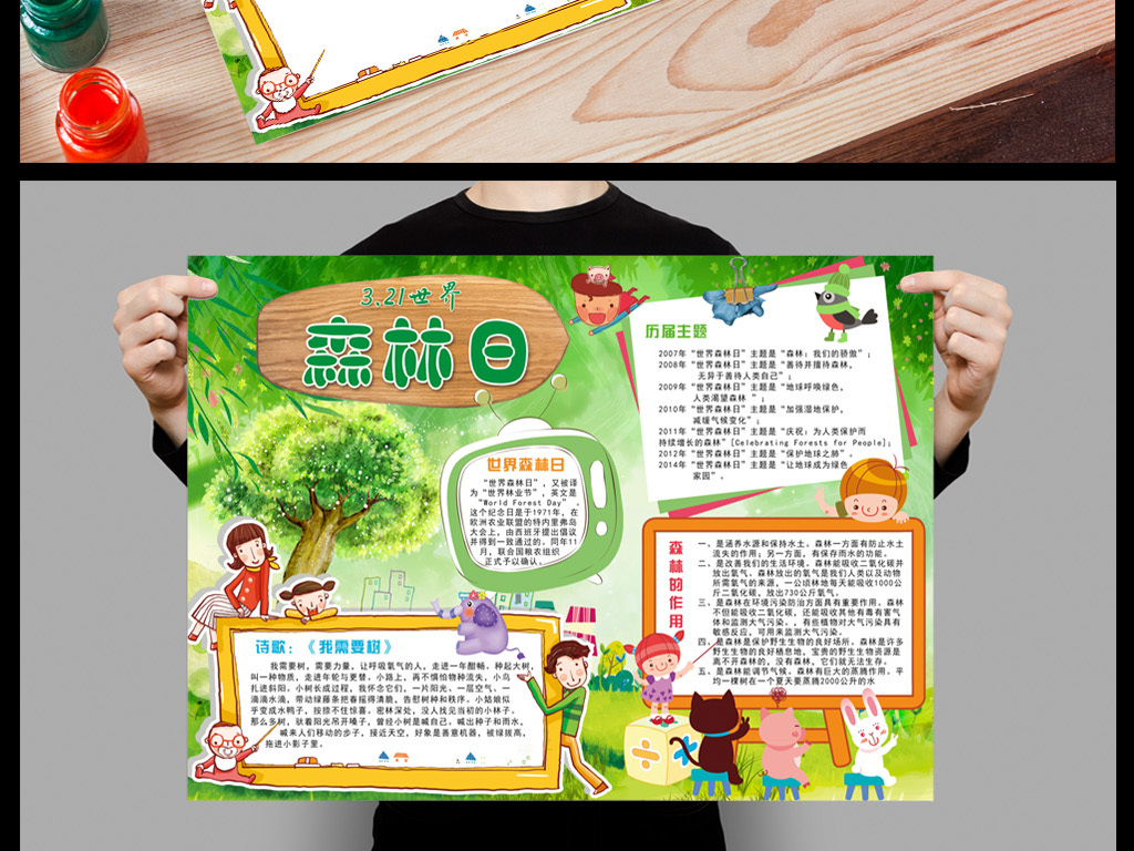 动物大自然博物馆森林童话作用防火植物活动造林保卫家园卡通校园小报