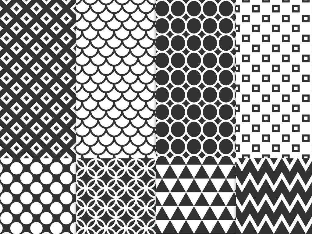 2018黑白经典抽象几何图案矢量素材图片