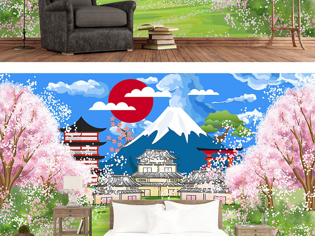 唯美日式手绘樱花富士山背景墙图片设计素材_高清模板