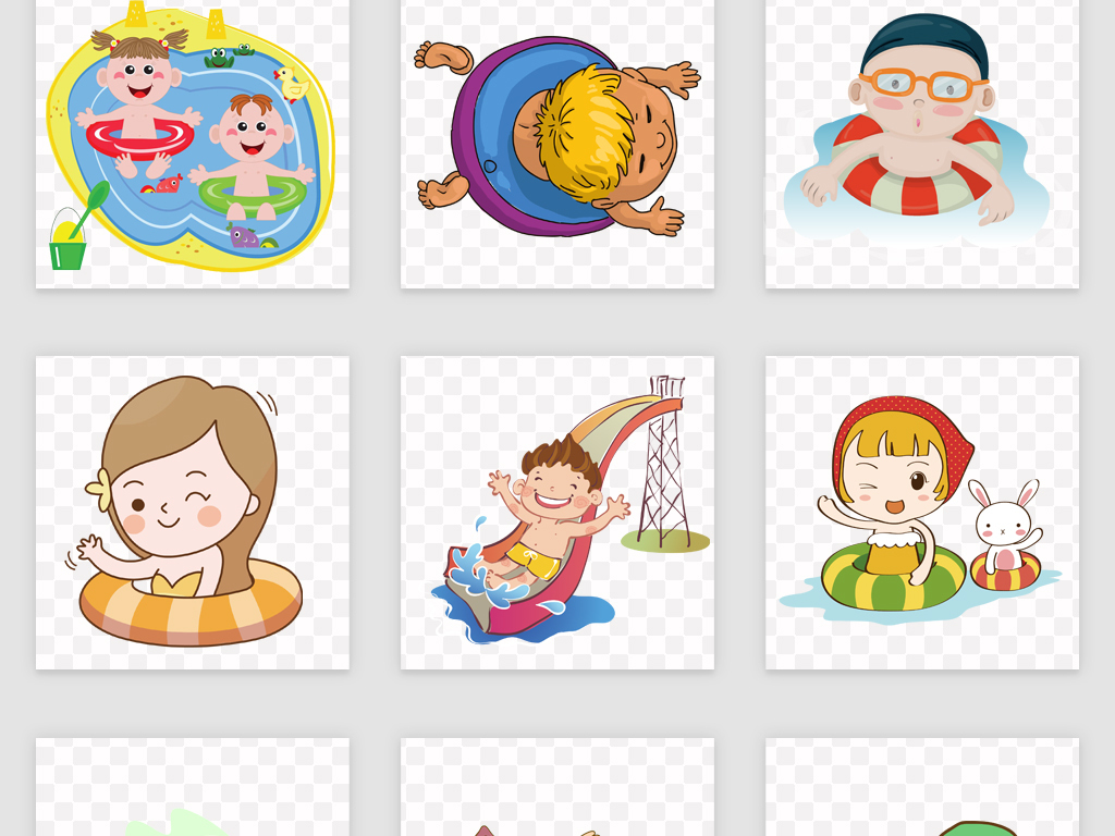 50款卡通游泳儿童png免抠素材