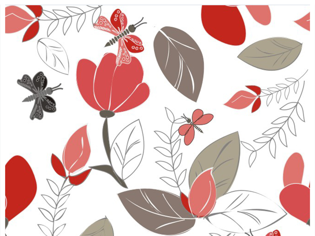 动物素材四方连续面料图案设计墙纸壁纸面料设计叶子花卉植物设计植物