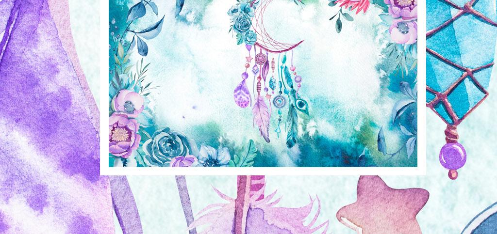 北欧现代艺术手绘水彩花卉植物羽毛背景墙