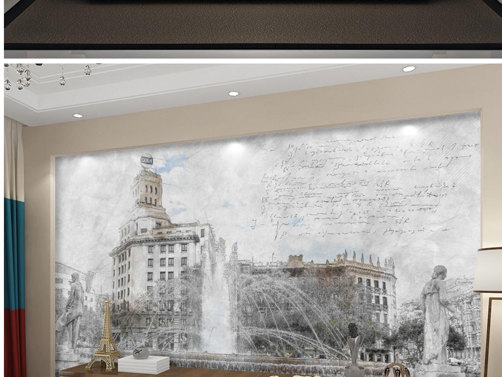 背景墙|装饰画 电视背景墙 电视背景墙 > 手绘彩铅慕尼黑商场喷泉