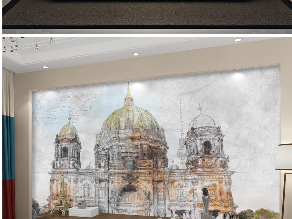 背景墙|装饰画 电视背景墙 电视背景墙 > 手绘彩铅德国大楼  素材图片