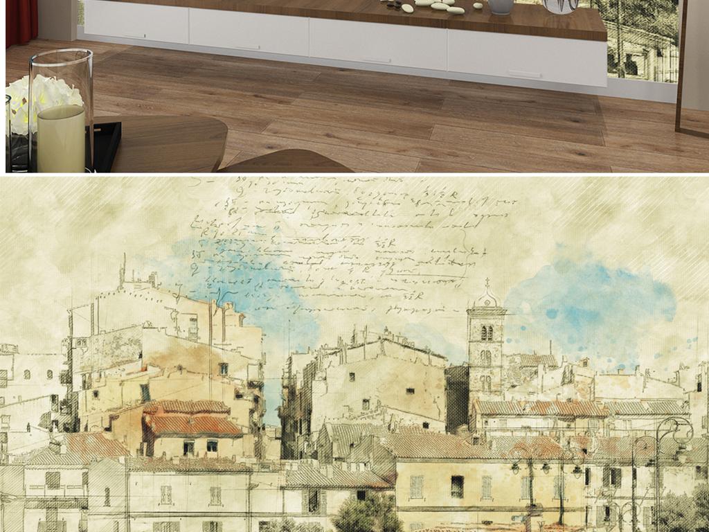 背景墙 电视背景墙 电视背景墙 > 手绘彩铅乡村小镇  素材图片参数