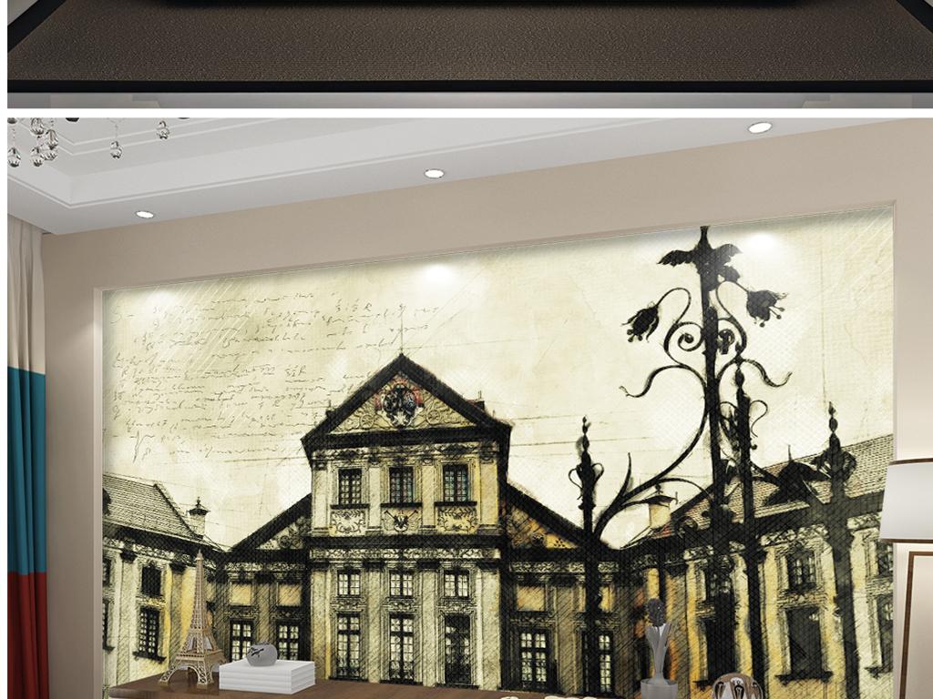 背景墙 电视背景墙 电视背景墙 > 欧式手绘彩铅公寓巴黎  素材图片
