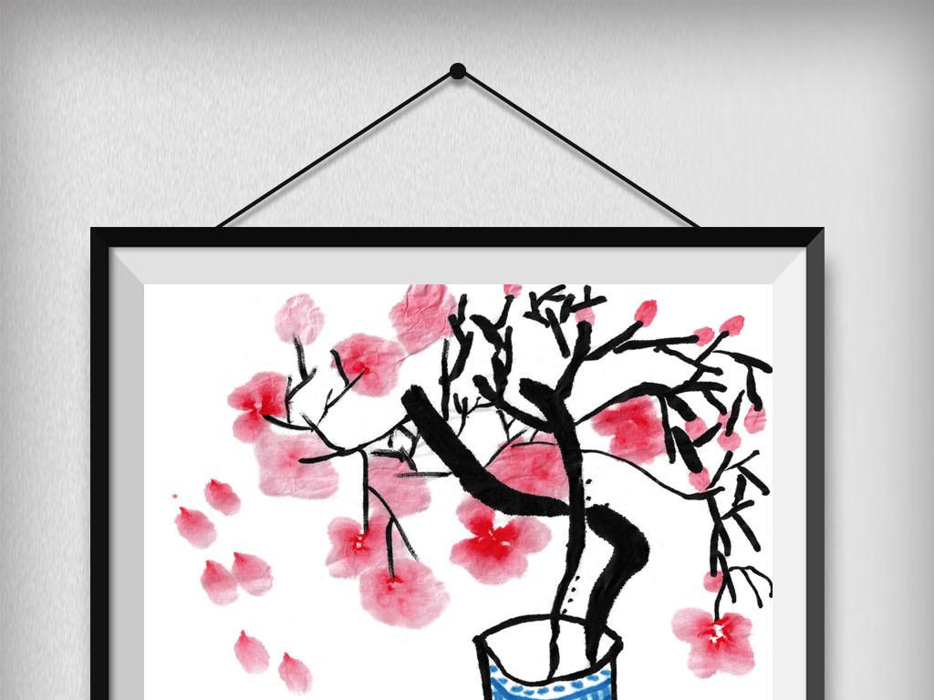 可爱手绘梅花插画无素