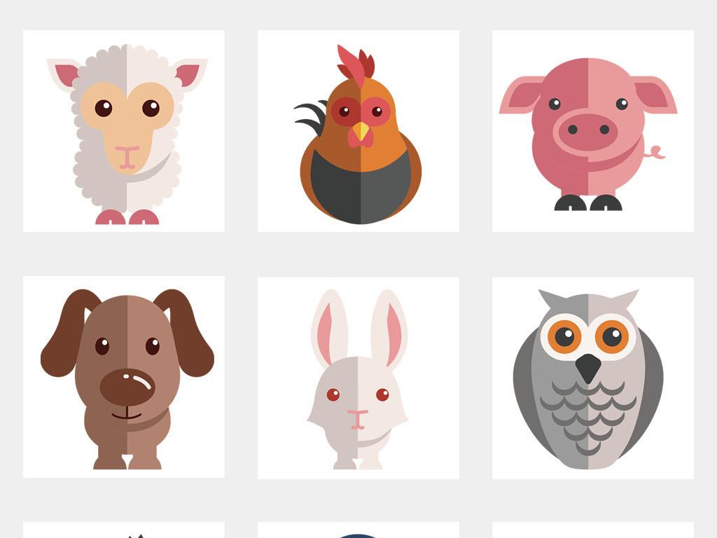 幼儿园小报卡通动物头像卡通帖纸png素材