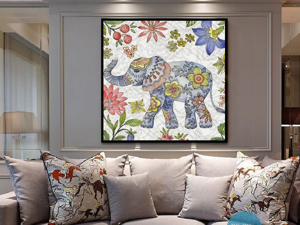 动物装饰画 > 花卉纹身大象东南亚泰国现代欧式手绘装饰画  素材图片