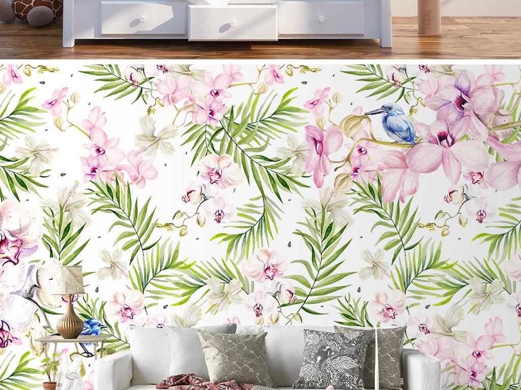 清新ins北欧手绘花朵兰花客厅装饰背景墙