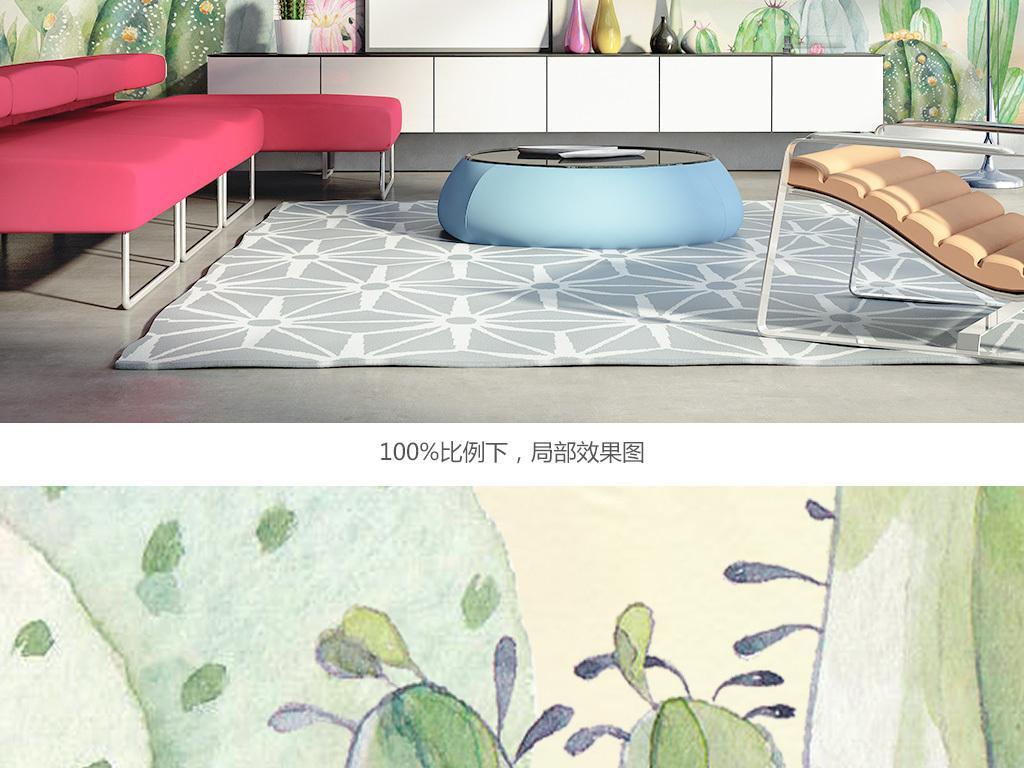 清新ins北欧手绘仙人掌客厅装饰背景墙