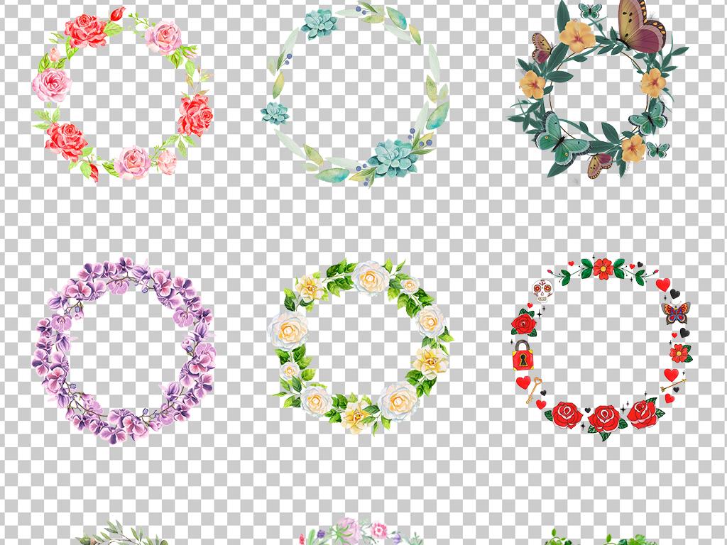 0394花圈花纹花边小清新彩色边框花瓣花边手绘花朵免抠素材