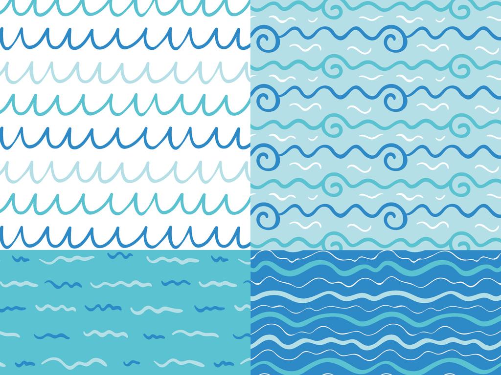 2018手绘蓝色海浪波纹背景矢量素材
