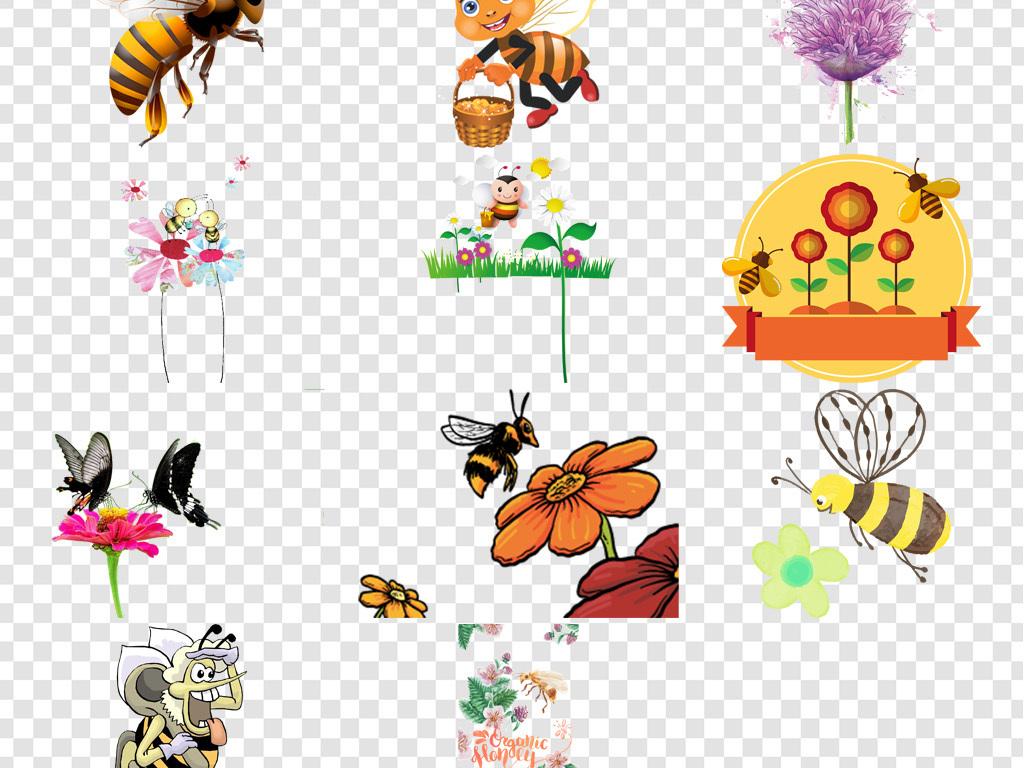 卡通手绘蜜蜂采蜜png海报素材