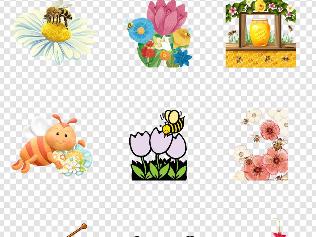 卡通手绘蜜蜂采蜜png海报素材图片_模板下载(28.51mb)