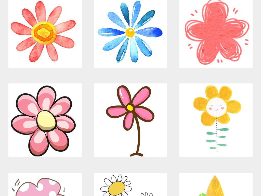 50款卡通手绘小清新花朵花卉绿色植物儿童小花png免扣