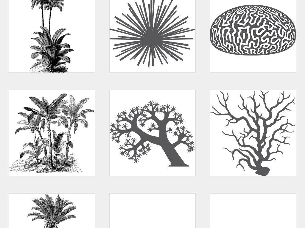 ai/独立png/黑白线描手绘侧立面树木室外园林广告设计