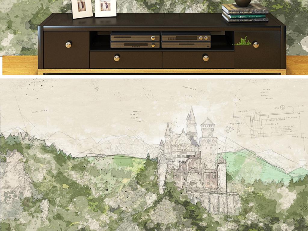 背景墙 电视背景墙 电视背景墙 > 手绘奥地利彩铅图纸  素材图片参数