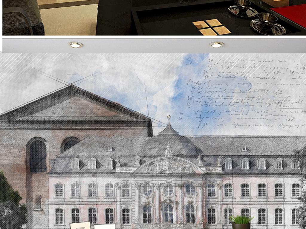 背景墙|装饰画 电视背景墙 电视背景墙 > 手绘奥地利彩铅广场  素材图