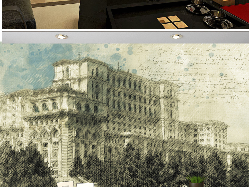 背景墙|装饰画 电视背景墙 电视背景墙 > 手绘德意志彩铅市政厅  素材