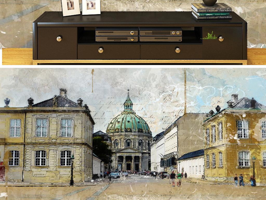 背景墙|装饰画 电视背景墙 电视背景墙 > 手绘奥地利彩铅小镇  素材