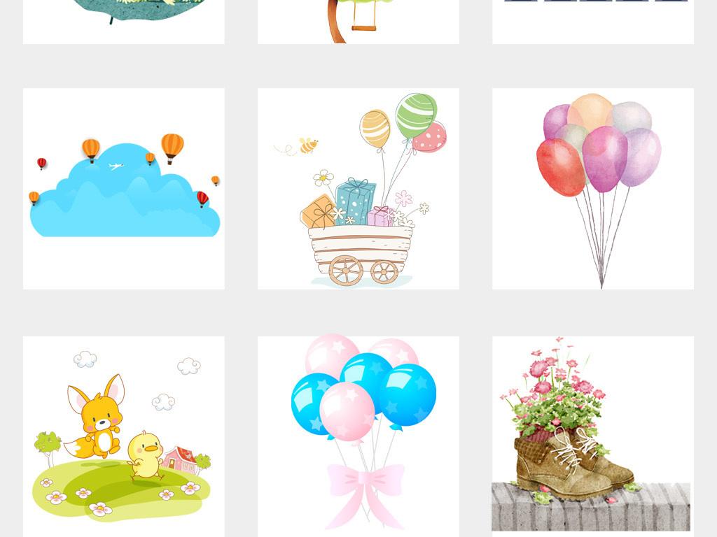 卡通手绘小清新花朵花卉绿色植物儿童小花png背景素材