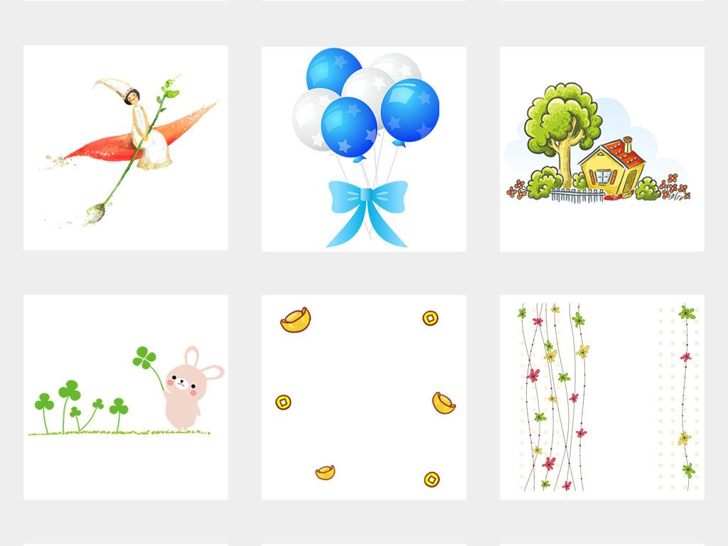 卡通气球背景花卉卡通背景植物手绘花卉素材手绘背景手绘卡通花朵清新
