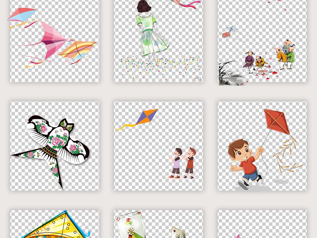 清明节扫墓卡通手绘放风筝踏青png素材