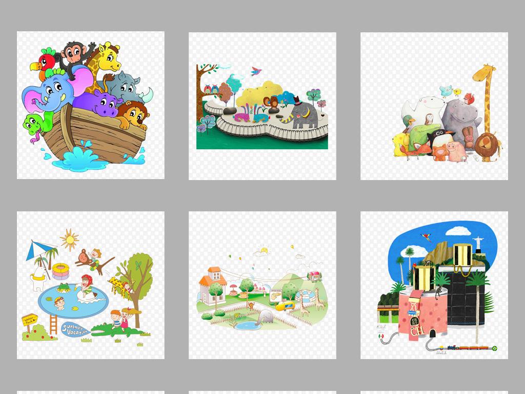 小动物手机壳图案设计儿童画手绘动物黑白壁画壁纸墙纸动物森林卡通