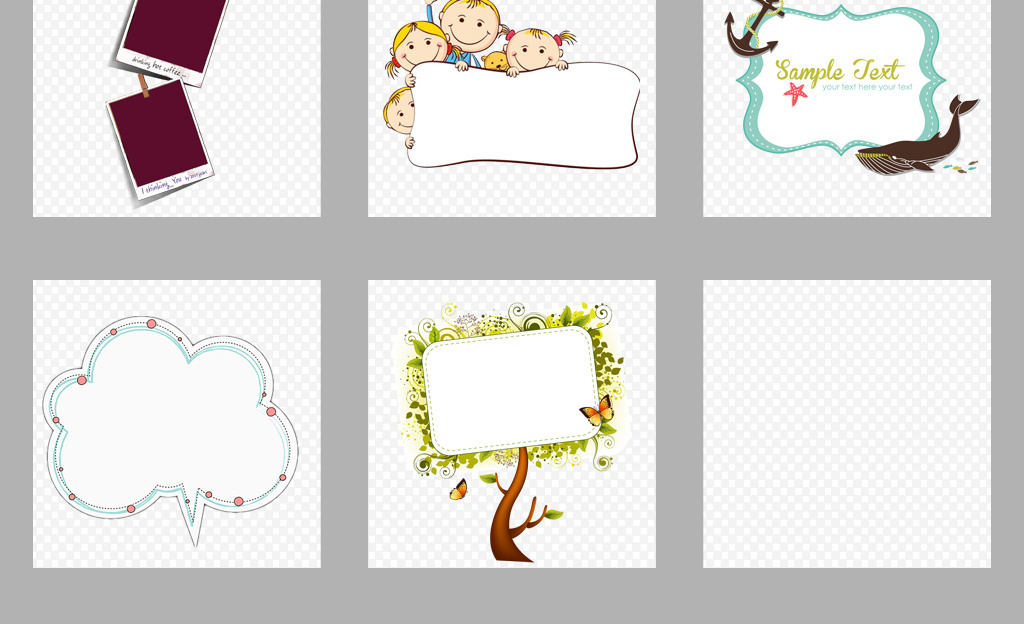 设计元素 花纹边框 卡通手绘边框 > 50款可爱卡通边框学生学习幼儿