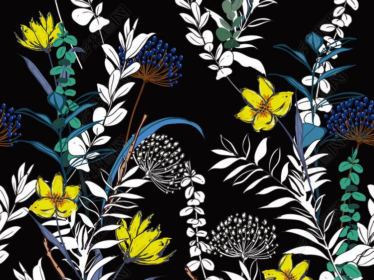 手绘矢量图清新植物花卉无缝家纺印花图案