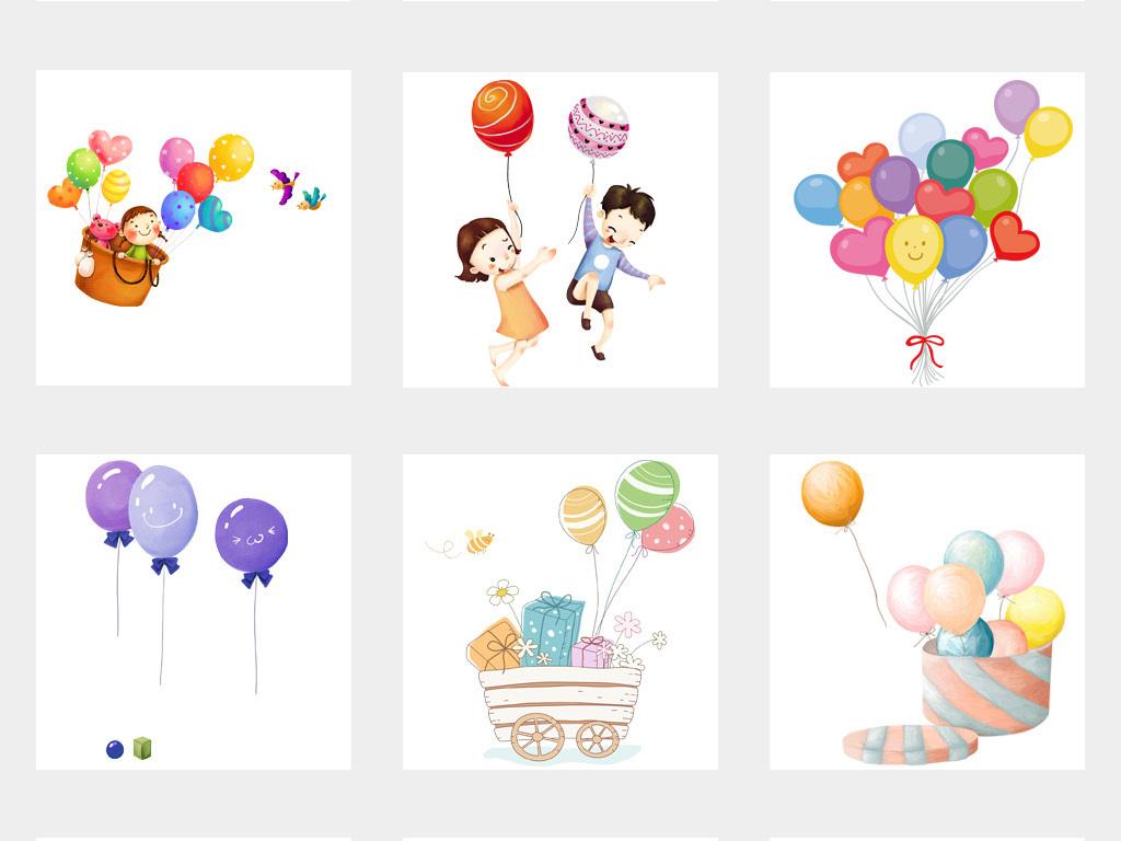 可爱卡通手绘彩色气球节日庆典装饰png免扣素材