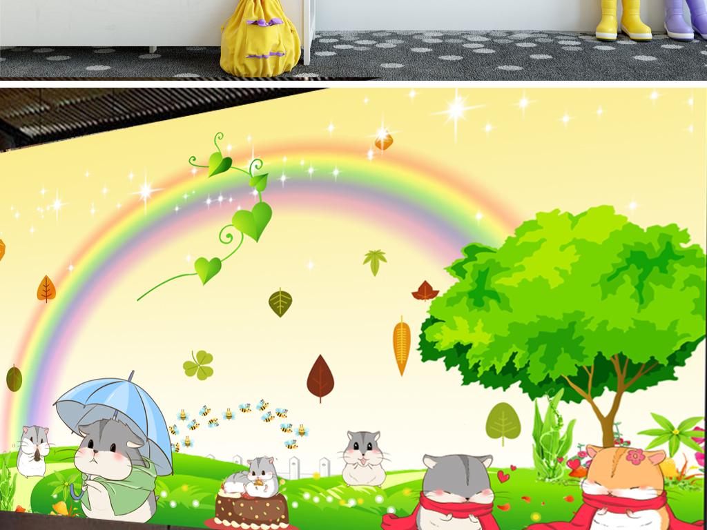 可爱仓鼠儿童卡通背景墙