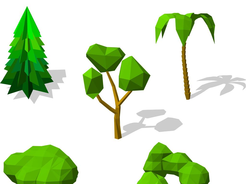 植物椰树松树雪树春天树木树木背景树木矢量手绘树木多边形图形创意