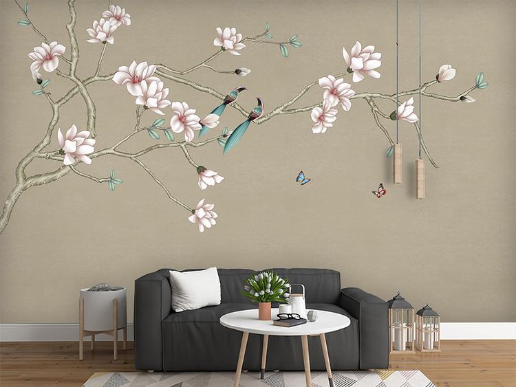 玉兰手绘工笔花鸟新中式背景墙装饰画