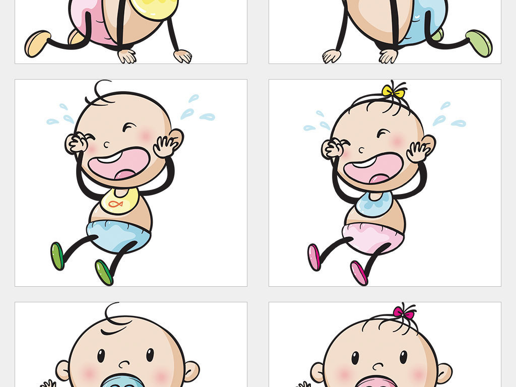 ai/独立png/手绘可爱卡通q版大头儿童小孩婴儿幼儿