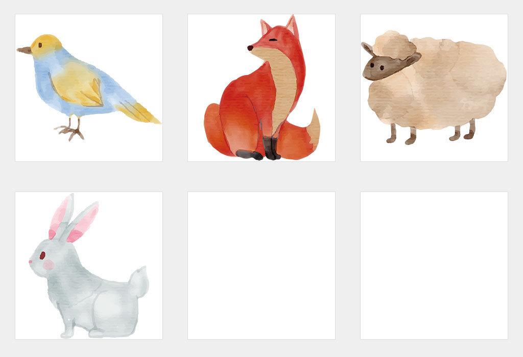 ai/独立png/手绘水彩水墨可爱小动物图案