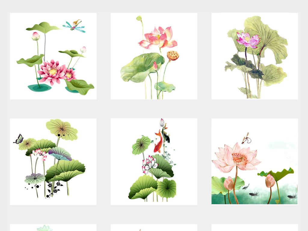 中国风手绘水墨荷花荷叶莲花图片背景素材图片