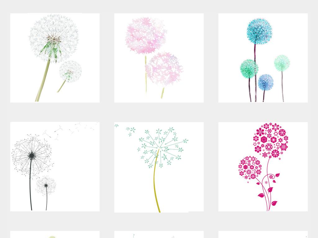 唯美手绘卡通紫色蒲公英花卉背景图片png素材