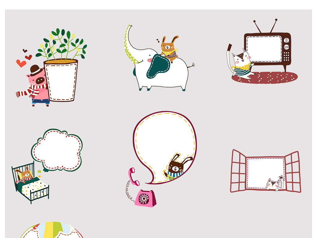 设计元素 花纹边框 卡通手绘边框 > 卡通气泡云朵读书小猫对话框png
