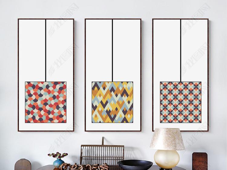 新中式创意抽象橙色几何新中式背景墙装饰画