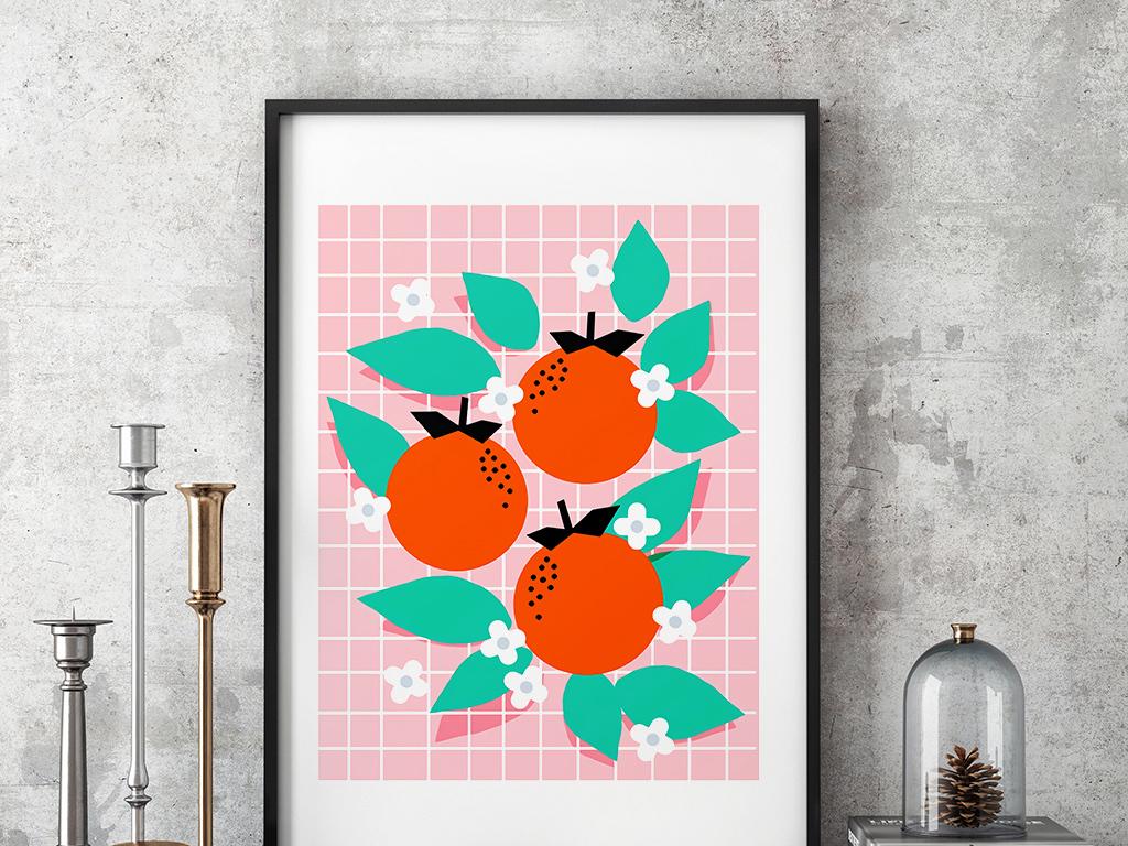 粉色ins风格新潮抽象植物装饰画2